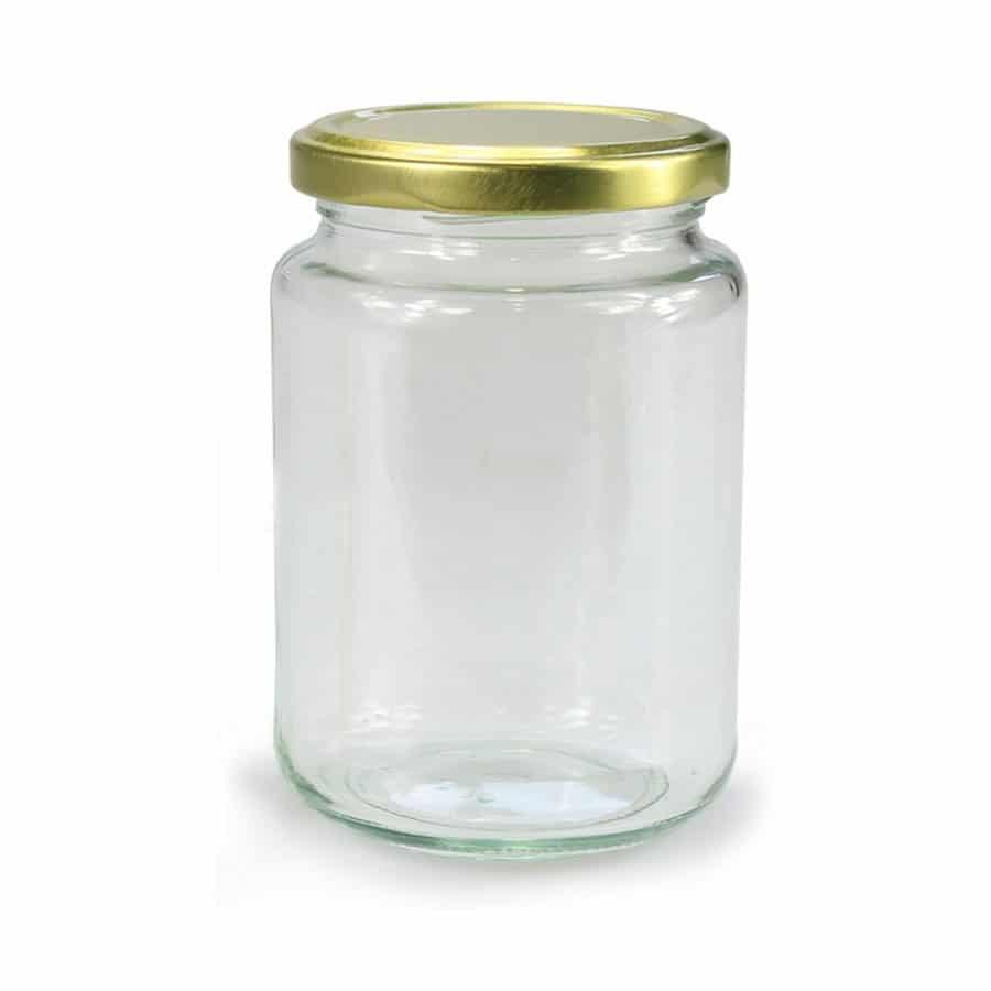 GLAZEN POT ROND - 375 ml EUROPESE KWALITEIT