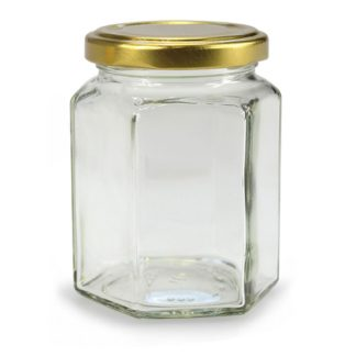 GLASS JAR HEXAGONAL - 278 ml EUROPEAN QUALITY