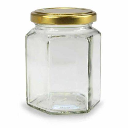 GLAZEN POT HEXAGONALE - 278 ml EUROPESE KWALITEIT