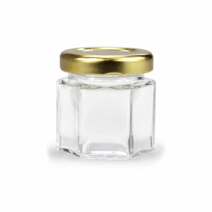 GLAZEN POT HEXAGONALE - 45 ml EUROPESE KWALITEIT