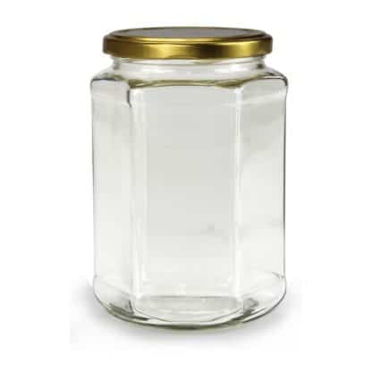 GLASS JAR HEXAGONAL - 770 ml EUROPEAN QUALITY