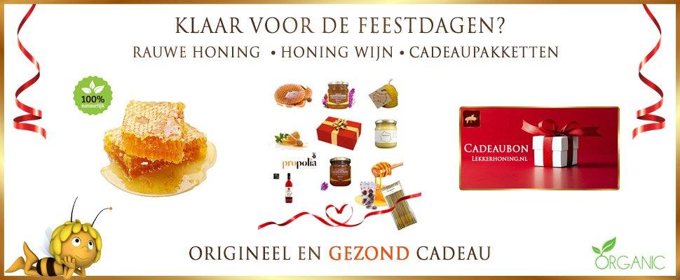 Bijzondere en gezonde cadeaupakketten en ideeën van Lekkerhoning.nl