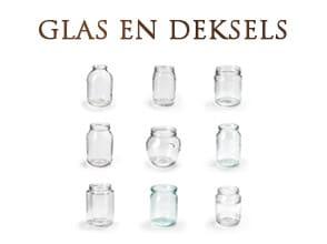 kwalitatief hoogwaardige glazen potten van Europees kwaliteitsglas en leverbaar ingepakt op trays of los op pallets.