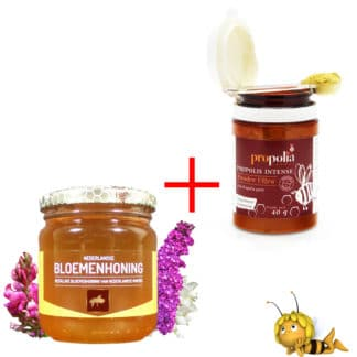 Propolis powder and wildflower honey from the beekeeper - to boost the immune system - Order online at Lekkerhoning.nl