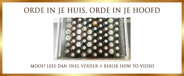 Kruidenla opruimen met glazen potjes van Lekkerhoning.nl