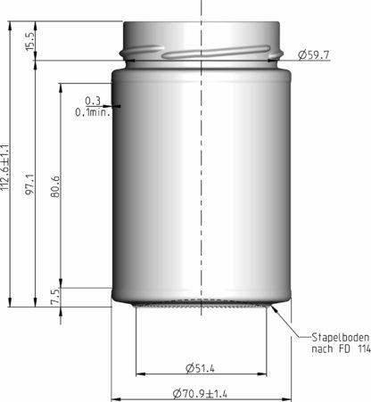 335 ml technische tekening - Lekkerhoning.nl